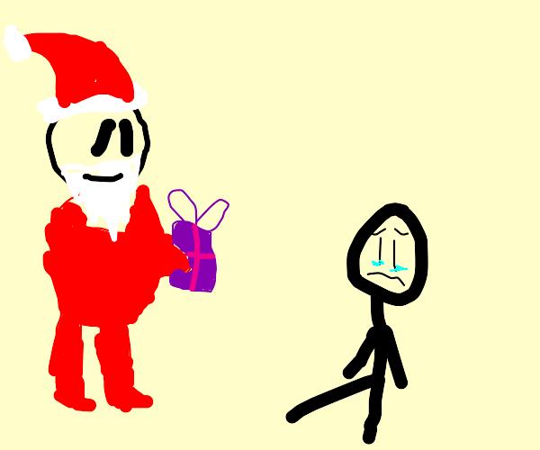 Satan gives sad guy a present