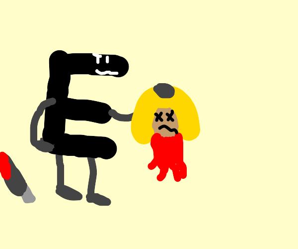 Killer anthro-E holds a head