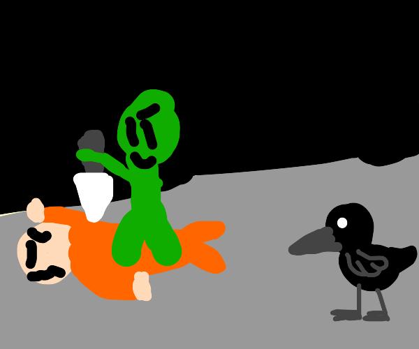 Green man about to murder next to a bird