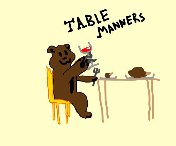 bear teaches table arts