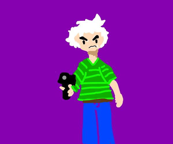 white hair green shirt guy points gun at you