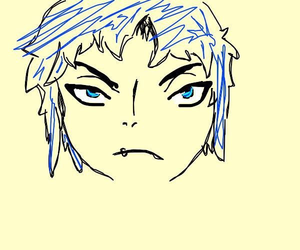 Handsome blue haired manga guy