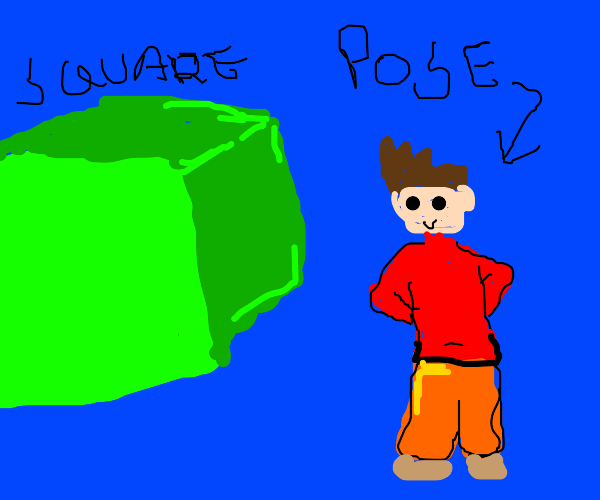 Brown haired man posing next to green square