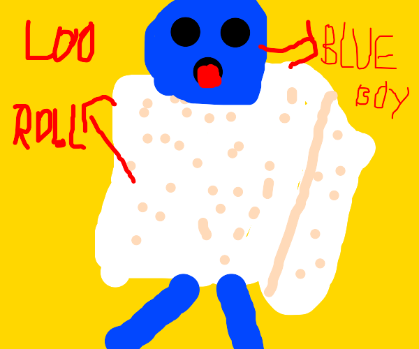 Blue boy in loo roll