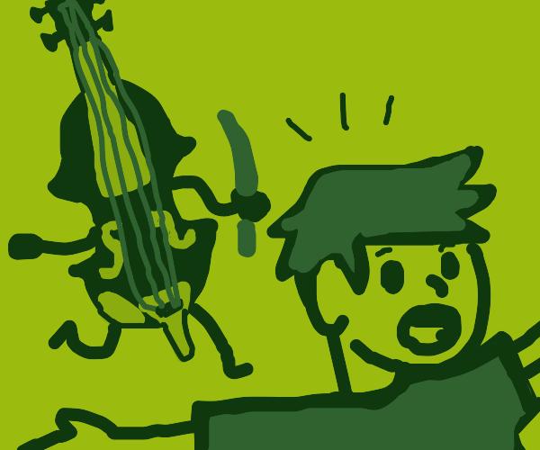 the violin tries to kill a man