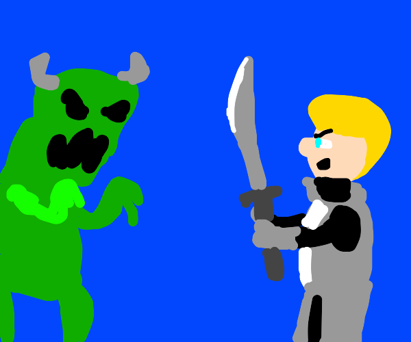 Man with sword defies monster