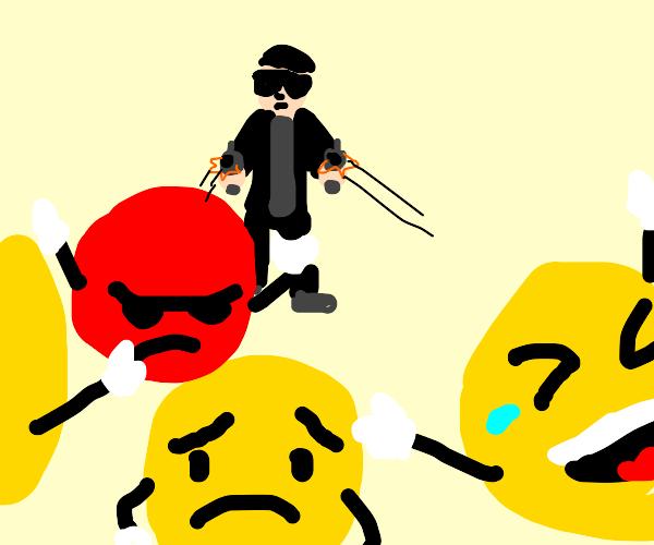 guy shooting at emojis