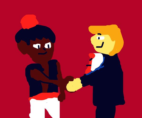 Aladdin makes a friend; the friend has a suit