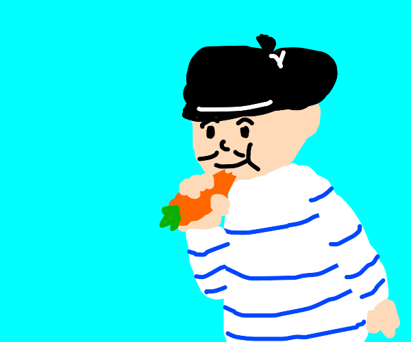 french person eating carrot
