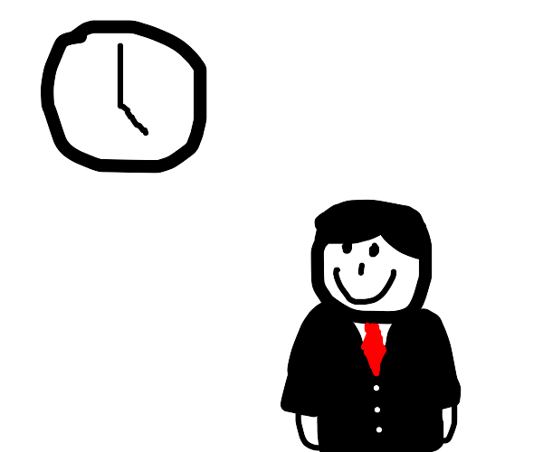 Man Happy to see a clock