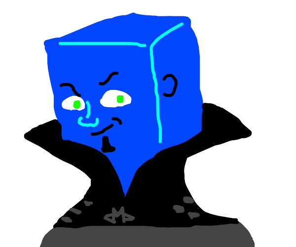 Megamind but his head is an ice cube