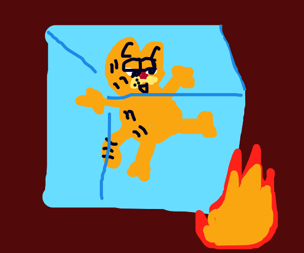 Garfield stranded on iceblock finds fire