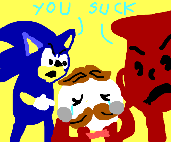 sonic and kool aid man reject mr pringle