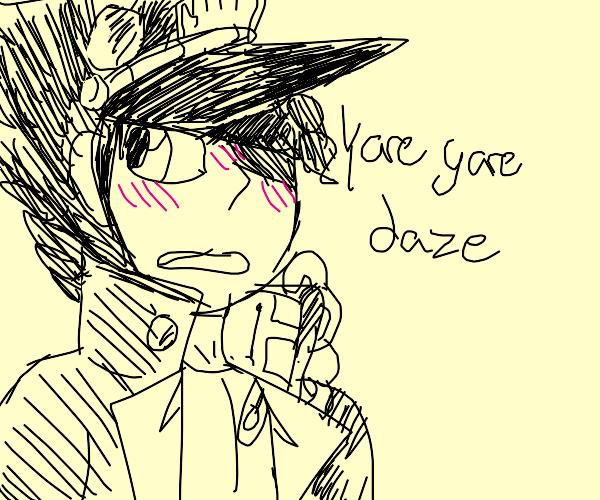 Blushing Jotaro says Yare yare daze