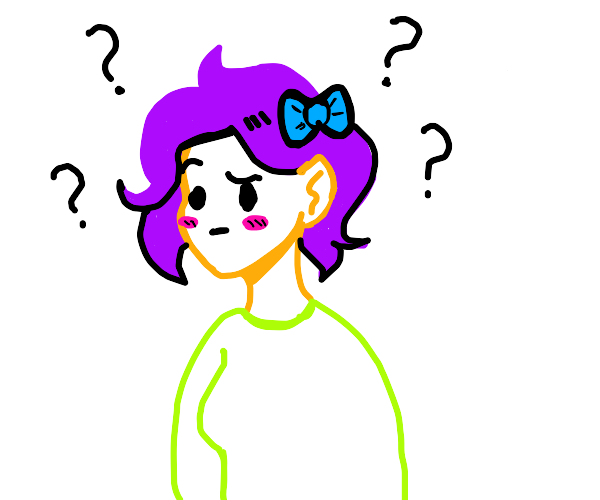 purple girl with blue bow hair is confused