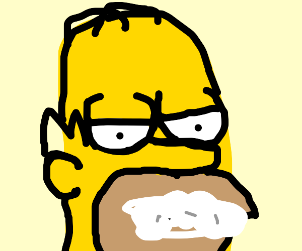 Homer with rabies eats a donut.