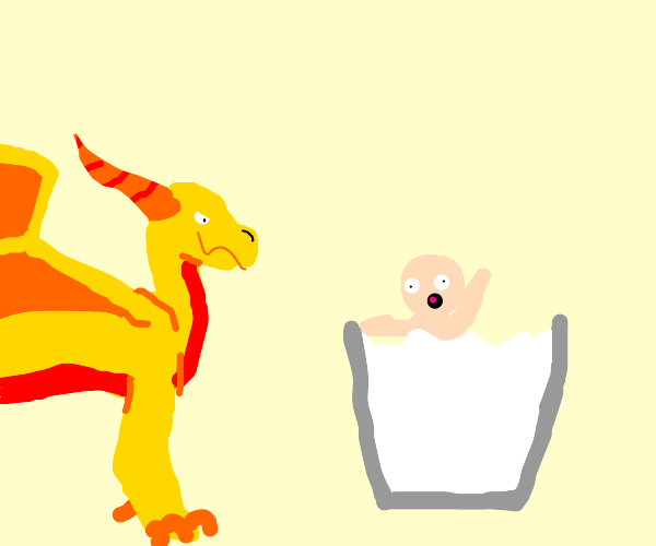 Yellow Dragon harassing naked boy in milk