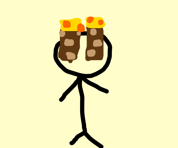 Stick figure with Minecraft torches for eyes