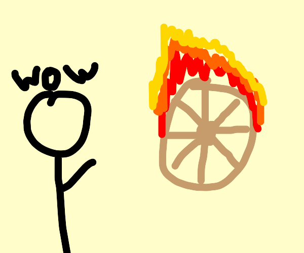 This wheel is on fire