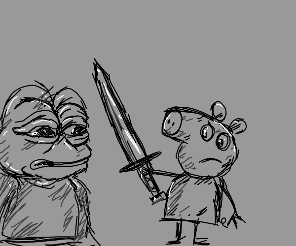Pepe Frog has sword fight with Peppa Pig