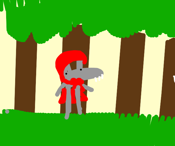 wolf dressed as little red riding hood