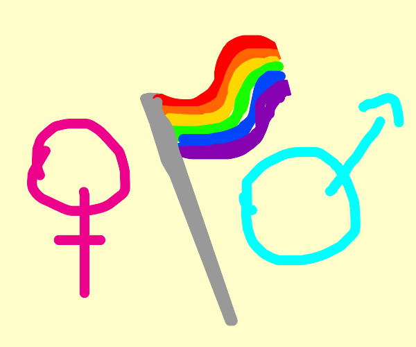 LGBT flag moves right with gender thing