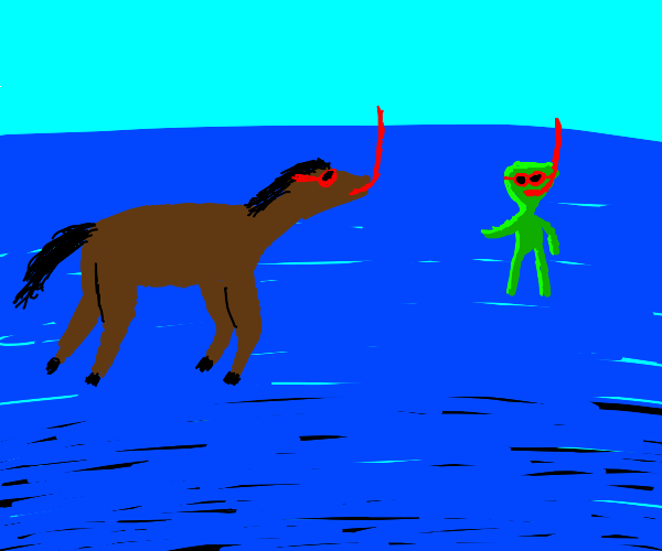 horse scuba diving with green alien