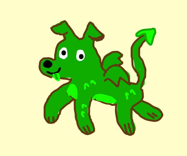 green dog-dragon hybrid