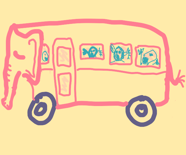 Bus with sleeping elephant + screaming people