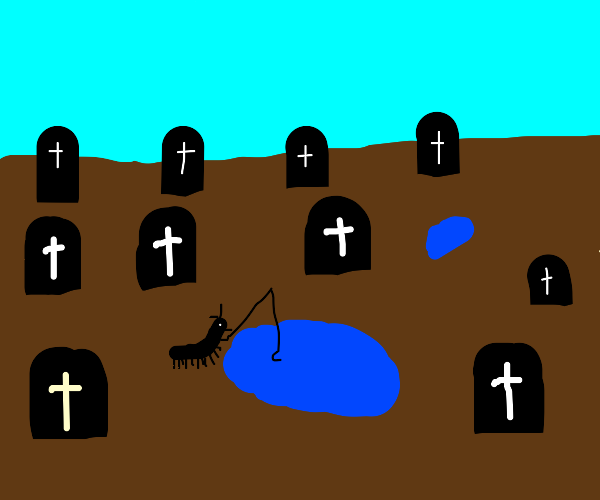 Centipede goes fishing in a graveyard