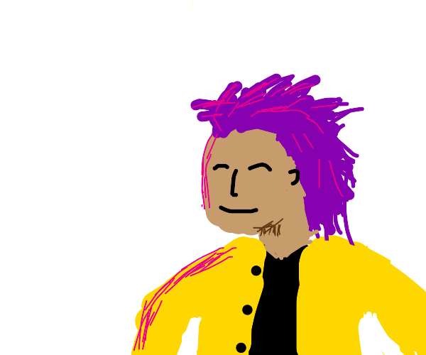 Happy guy with purple hair