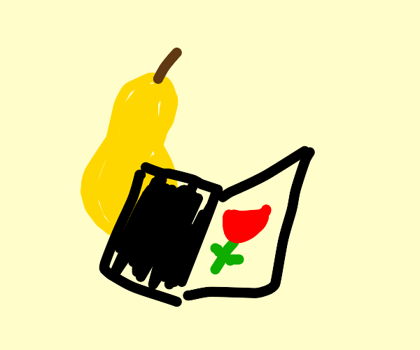 pear reads about roses in a book