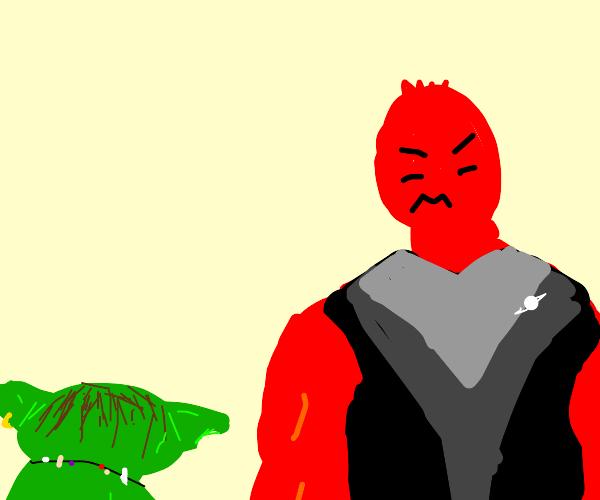 Green goblin fighting red alien