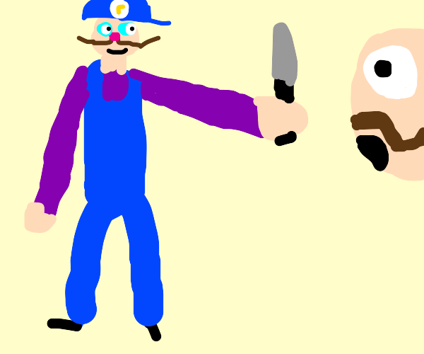 waluigi fights moustache man