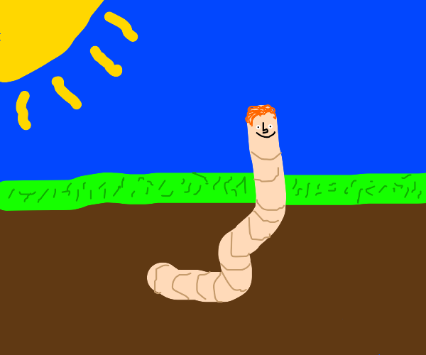 Ron from harry potter as a worm