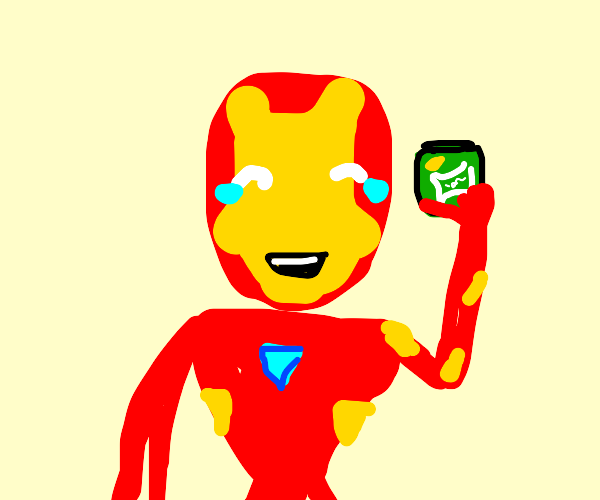 Laughing Iron man properly disposes of coke
