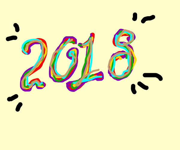 2018 with many coloured lines