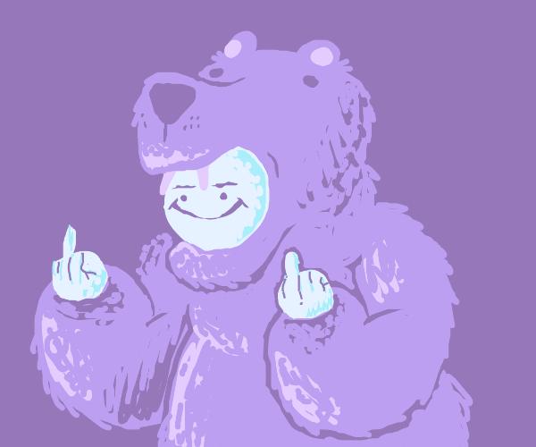 In a bear suit