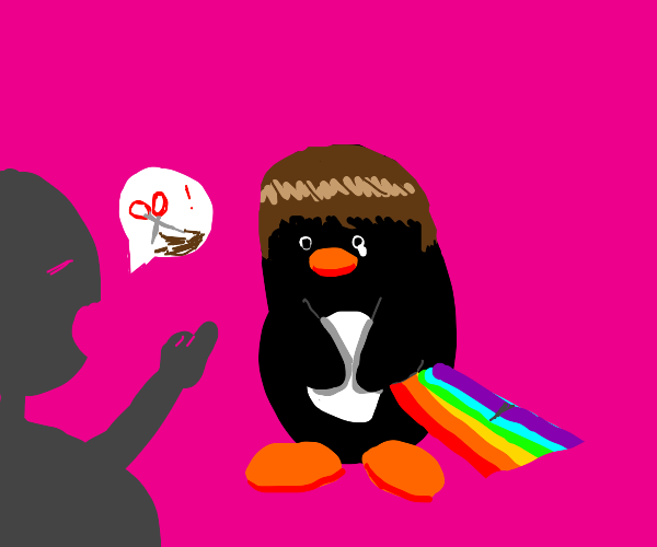 You need a new haircut, you gay penguin!