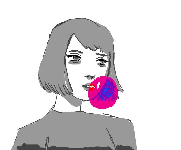 anime girl blow gum bubble