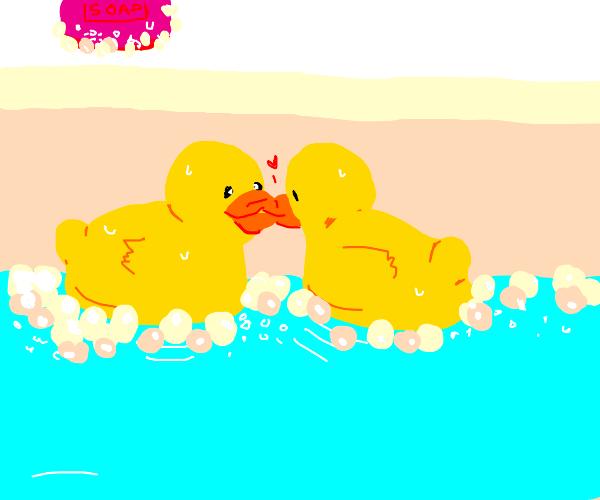 rubber ducks kissing