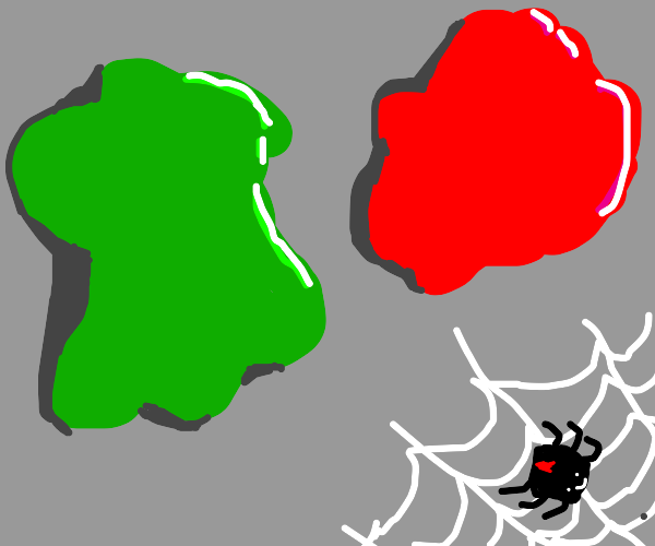 green and red blobs next to a spider web