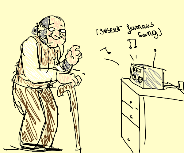 Cyborg grandpa listens to the latest hits