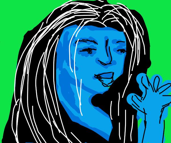 Pretty blue female shows 5+