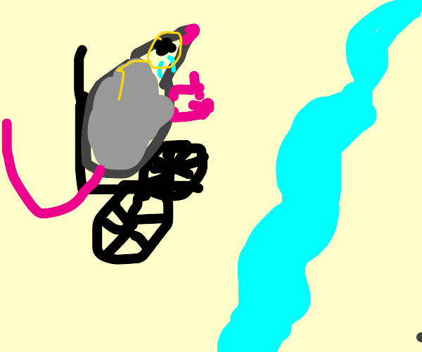 sad crippled rat with glasses by a river bank