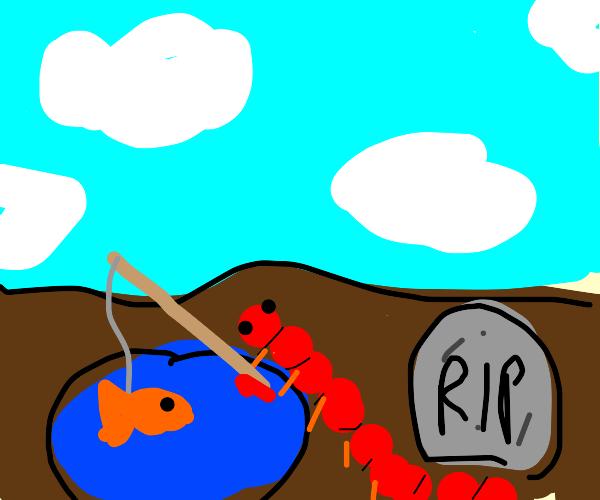 millipede fishing alongside a gravestone