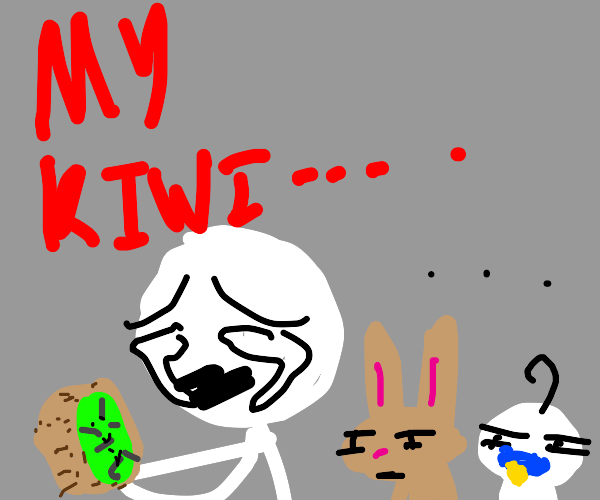 Man Crys over kiwi while rabit and baby watch