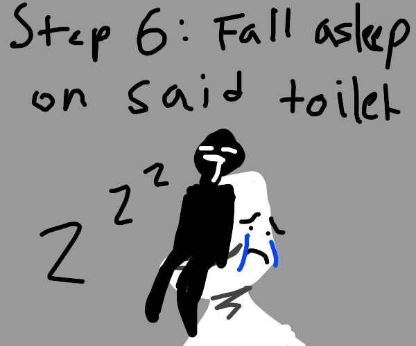 Step 5: Scream at a depressed toilet crying
