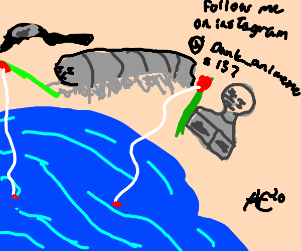 Centipede fishing with a Statue