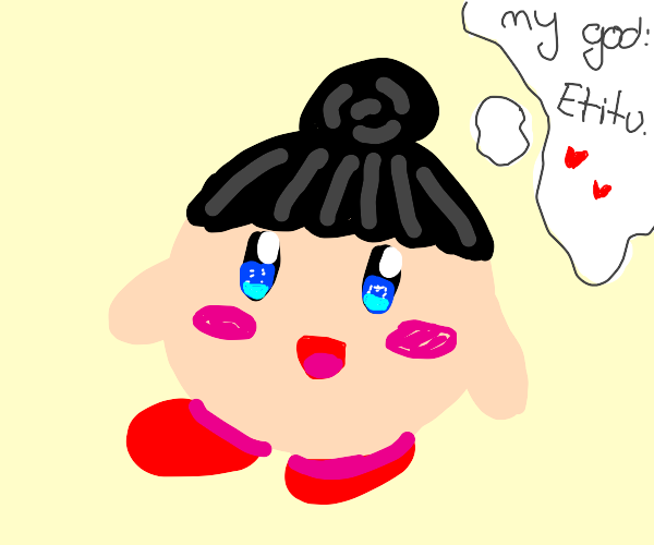 Pale kirby with hair thinks of his god, etitu